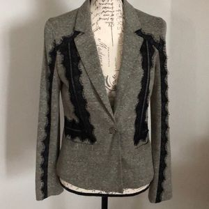 Gray blazer with black lace